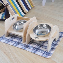 Wooden table stand stainless steel bowl cat dog water food bowl for dog feeding bowl with stand cats dogs bowls pet products