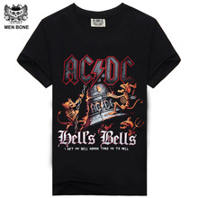 [Men bone] AC DC Heavy metal Bell Skull Men t-shirts Chain acdc summer style t-shirt cotton 100% for men t shirtfree shipping(China)