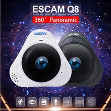 ESCAM Q8 HD 960P 1.3MP 360 Degree Fisheye Wifi IR Infrared Camera VR Camera 2 Way Audio Motion Detector Support 128G Card White