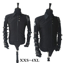 RARE MJ Michael Jackson BAD Black Tour Punk Rock Show Jacket  For Fans party Classic Performance