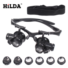 HILDA  20X LED Double Eye Repair Magnifier Glasses Mini Loupe Lens Magnifying Glas with Light Watch Microscope Measurement Tools