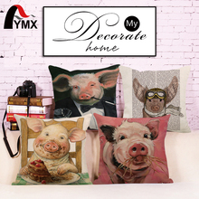 "18"" Cushion Cover Funny Pig Images Painting Cushion Cover Case Linen Throw Pillows Car Sofa Cover Decorative Pillowcase Decorat(China)"