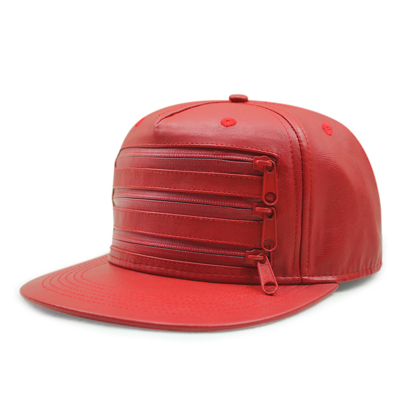 Men Leather Baseball Cap Brand Solid Color Fashion PU Flat Street Baseball Snapback Hats Three Zipper Adjustable Drake Cap Women<br><br>Aliexpress