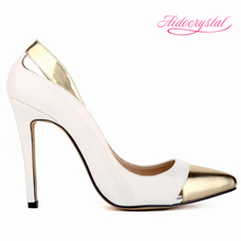 Aidocrystal 2016 Popular Fashion 13 Colors Vintage Pu Leather Red/Black/White/Yellow Women gold Pointed toe High Heel Pumps