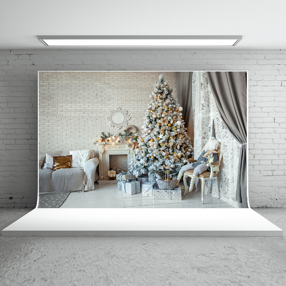 Kate Indoor Christmas Photography Backdrops With Christmas Tree Photography Background Christmas Fireplace Photo Background <br>