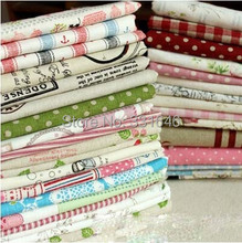 High quality Small Grid,dot,strpie,floral Cotton Linen fabric fat quarter bundle patchwork for tablecloth,curtain,home textiles