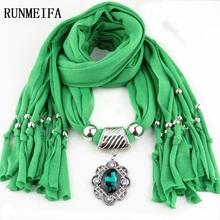 [RUNMEIFA] Hot selling fashion Lady flower pendant scarf necklace charm woman girls ornament accessories wholesale scarves
