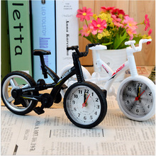 New Style Quartz Analog Travel Desk Alarm Clock Modern Bicycle Bike Model Ornaments Battery Toys For Kids Children