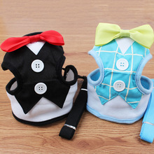 Fashion Dog Harness & Leash Pet Leads for Small Dogs Puppy Dog Harness Vest with Bow Tie Party & Wedding Formal Tuxedo Costume