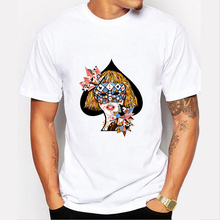 New 2017 Mask Poker Queen Print Mens T Shirts Modern Woman Design Short Sleeve T-shirt Brand Style Cool Tshirt Mens Tees