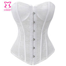Corzzet Floral Lace Bustier Corset White Sexy Bridal Wedding Lingerie Corselet Overbust Padded Cup Push Up Corsets and Bustiers
