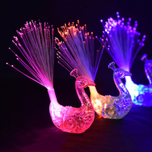 3PCS Novelty Charm LED Luminous Peacock Finger Rings Lights Toy Flash light Kids Gift New Years Gift