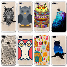 Cape for iphone 5 5s SE Cases Owl Print Clear Clear TPU Soft Shell+Back printing Cover phone cape for 6 6s 6Plus 6sPlus 7 7Plus