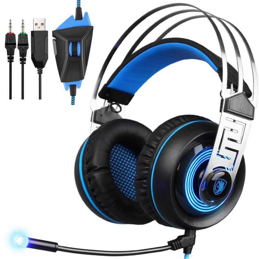 SADES A7 3.5mm Universal Stereo Surround Gaming Headset Headband MicHeadphone Noice Canceling Big Headphone With microphone<br>