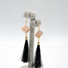 Free shipping fashion new lady jewelry wood geometric element black line spike combination girl gift party earrings female