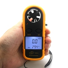 GM816 Mini Digital Anemometer Wind Speed Meter 30m/s -10~45C Thermometer Temperature Tester Anemometro LCD Backlight Display(China)