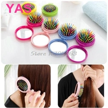 Women Travel Portable Folding Round Compact Comb Airbag Hair Brush Mini Mirror #Y207E# Hot Sale(China)