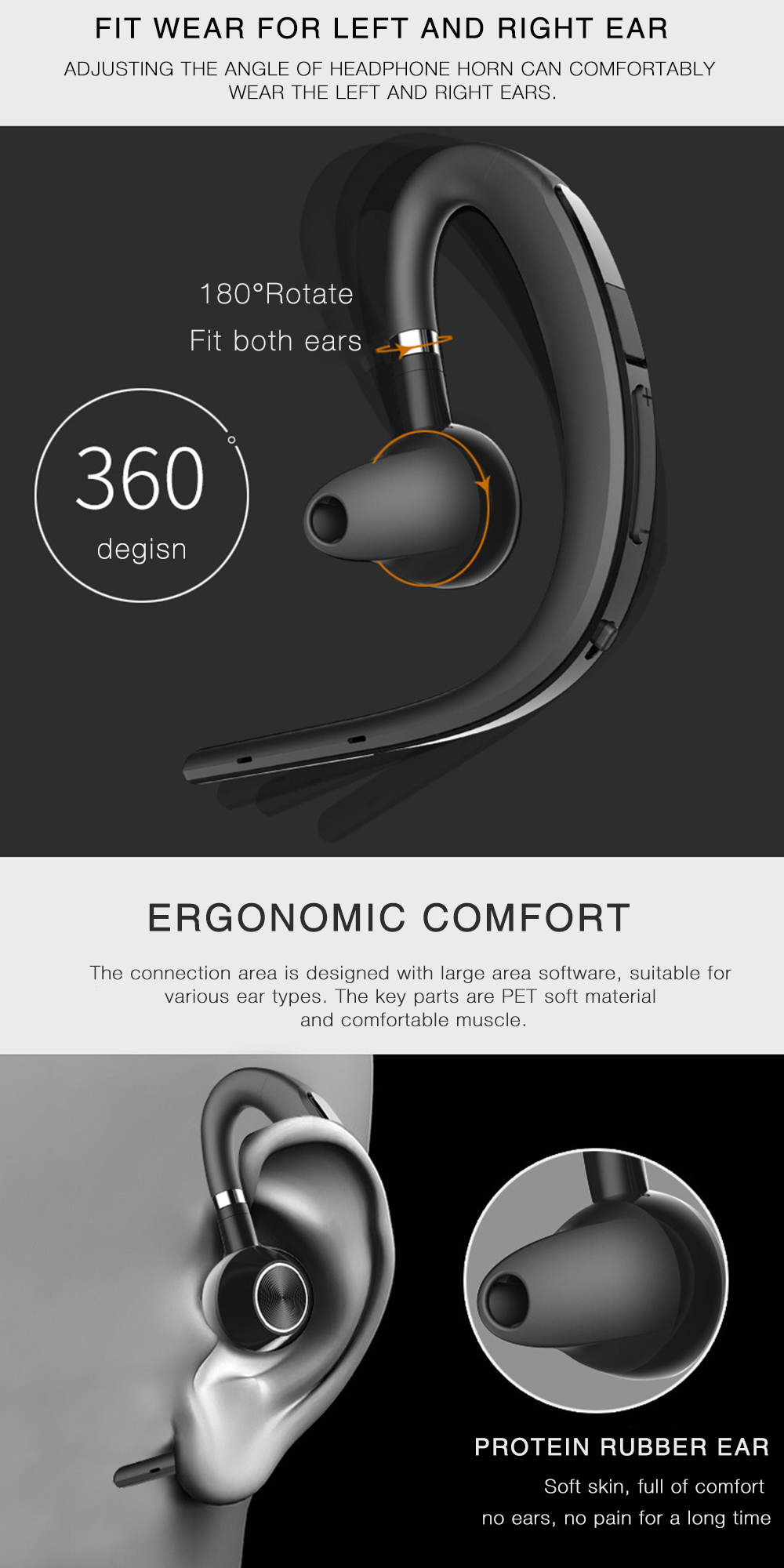 Lymoc Upgrade Y3+ Bluetooth Earphone Handsfree Ear Hook Wireless Headsets V4.1 Noise Cancelling HD Mic Music For iPhone Huawei 7