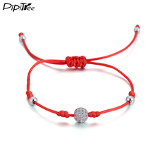 PPitree Micro Pave CZ Crystal Ball Bracelet Femme Shining Red String Charm Bracelets Jewelry for Women Girls Children Adjustable(China)