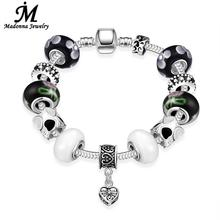 New High Quality Punk Style White And Black Glass Beads Fit Snake Chain Spider Charm Silver Plated Bracelets Jewelry(China)