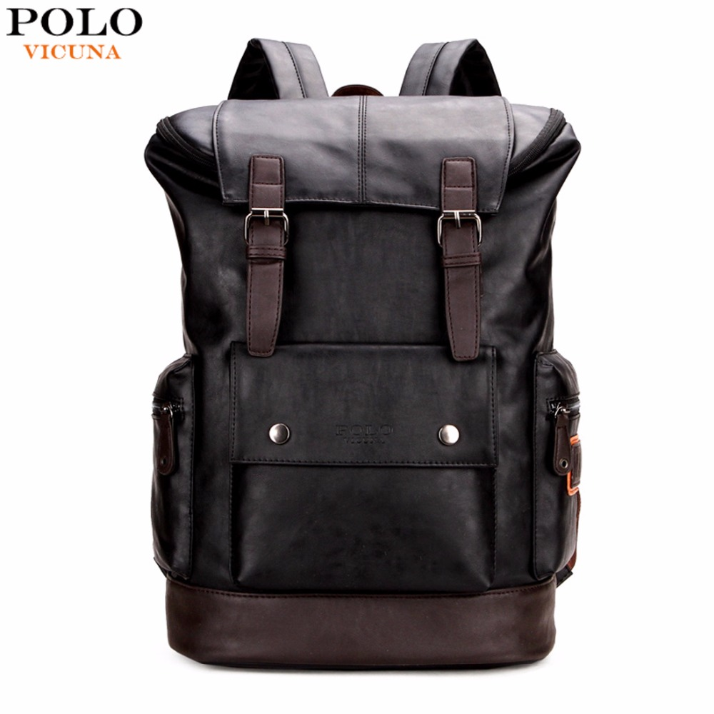 VICUNA POLO Simple Patchwork Large Capacity Mens Leather Backpack For Travel Casual Men Daypacks Leather Travle Backpack mochila<br>