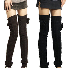 Women's Winter Crochet Knitted Footless Leg Warmers Boot Socks Thigh High Retail/Wholesale 5K3Q