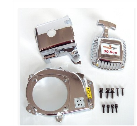 Chrome engine kit(pull starter+cylinder cover+side cover+screws) for 1/5 scale HPI Rovan Baja 5b of 23cc,26cc, 29cc,30.5cc parts<br>