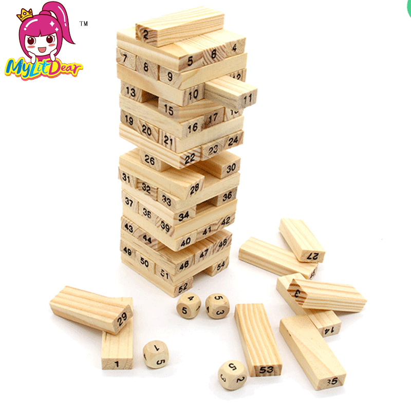 5pcs/lot 54pcs Wooden Jenga Building Figure Blocks Domino Blocks Stack Tower Games for Children Preschool Learning Kids Gifts<br>