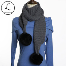Winter Scarves For Women 2017 Warm Pure Color Scarf With Black Rabbit Fur Balls Wool Long Scarf Knitted Wrap Female Foulard 6908