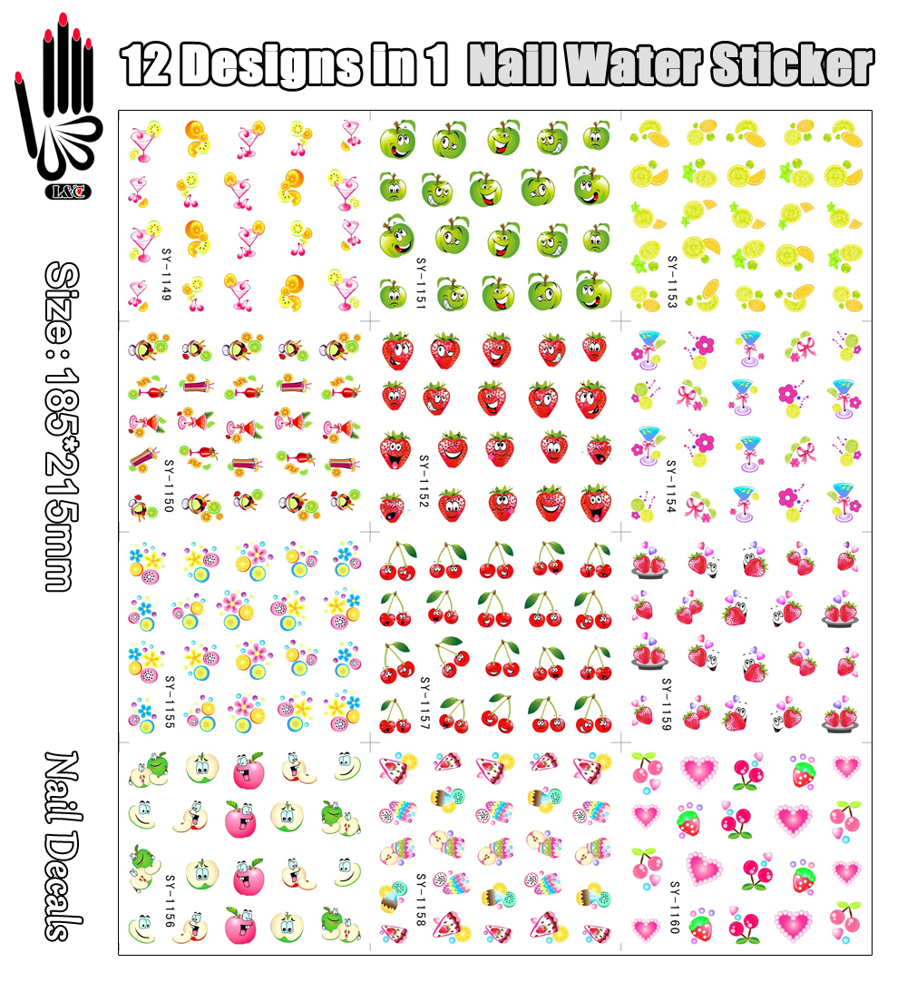 12 Sheets/Lot Sticker For Nail SY1149-1160 Cartoon Face Fruits Nail Art Water Transfer Sticker For Nail(12 DESIGNS IN 1)<br><br>Aliexpress