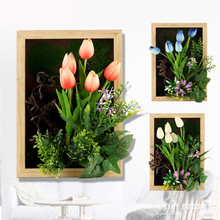 High simulation 3D artificial PU flowers tulips Plant frame bonsai wall painting fresco mural fake plant frame wall decoration(China)