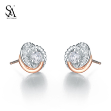SA SILVERAGE Real 925 Sterling Silver Stud Earrings Amor Clássico Rose Gold Cubic Zirconia Brinco para Mulheres Presente(China (Mainland))