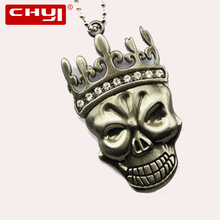 CHYI Cool Necklace USB Flash Drive Pen Drive Skull with Imperial Crown Memory Stick 4GB 8GB 16GB 32GB 64GB Pendrive U Disk(China)