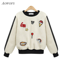 AOWOFS 2017 Women Lambs Wool Hoodies Autumn Winter Cartoon Appliques Pullovers Long Sleeve O-neck Patchwork Sweatshirts P8828