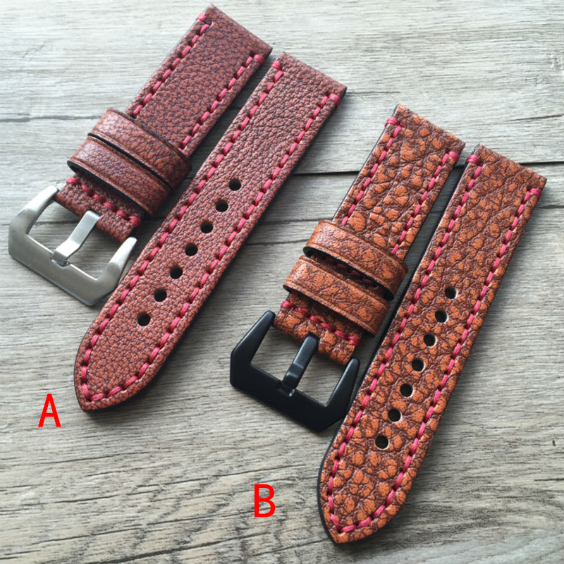 Watch strap manual Customized 24mm Vintage Special pattern Calfskin Leather High Qualty Genuine Leather personality Watchband <br>