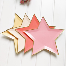 8pcs Mixed Color Gold Foil Star Paper Plates Party Decoration Disposable Tableware Paper Plate for Dinner Cakes Party Supplies(China)