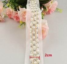 free shipping!5yards/lot 2cm luxury pearl and rhinestone lace beaded trims DIY wedding dress bridal garment sewing accessory