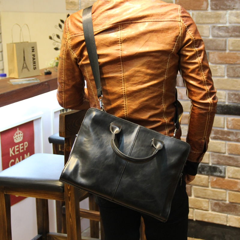 Hot men crazy horse PU leather handbag crossbody bag black brown handmade luxury business male bag 13inch laptop<br><br>Aliexpress