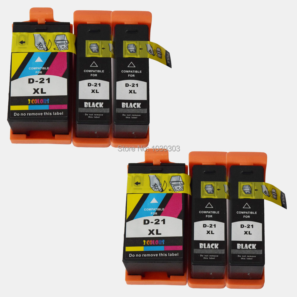6PK Compatible For Dell 21 22 23 24 Ink Cartridges  For dell 1525 V313 V313W V715W / V515W / P513wW / P713W Printer Dell 21 inks<br>
