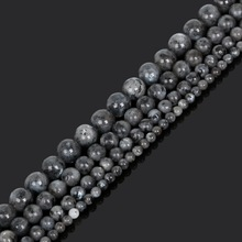 4 6 8 10mm Natural Stone Black Moonstone Round Loose Beads DIY Earring Jewelry Bracelet Making