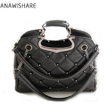 ANAWISHARE Women Leather Handbags Ladies Totes Bags Rivet Crossbody Bags Black Large Shoulder Bags Bolsas Femininas Bolsos Mujer