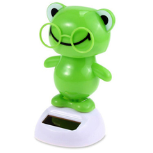Cute Frog Monkey Design Ornament Solar Energy Automatic Rocking Figurine Gift for Friend Home Decor(China)