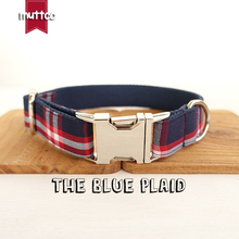 MUTTCO retailing pretty dog collar unique collar THE BLUE PLAID dog collar 5 sizes