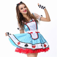 Lovely Blue Playing Cards princess Halloween scary Costumes for women Cosplay game  uniformsExotic Apparel Casino mogul Costumes
