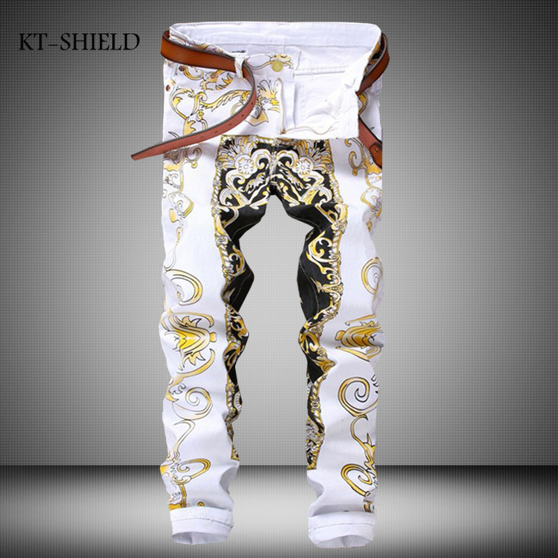 100% Cotton Clubwear Personality Cool Painted Jeans Men White Cotton Denim Casual Pants Mens Contrast Color Flower Printed JeansОдежда и ак�е��уары<br><br><br>Aliexpress