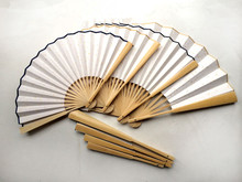 "Large Bamboo Folding White Fan Rice Paper Hand Fans Adult Calligraphy DIY Fine Art Painting Programs Crafts Gift 7"" 8"" 9""10""(China)"