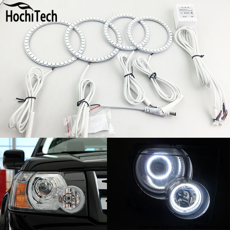 for Land Rover Freelander 2 L359 2007 2008 09 10 2011 2012 RGB LED headlight rings halo angel demon eyes with remote controller<br>