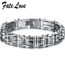 316LPunk stainless steel bracelet Italian man Bike chain Bracelets&Bangle with clear crystal new coming 679(China)