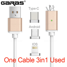 USB Type C/IOS/Android 3IN1 Magnetic Cable Type-C USB-C Fast Charger Adapter Cable lightning For iPhone/Ipad mobile phone cables
