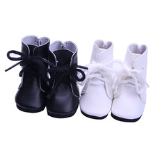 "Fashon 2 Color Black and White Doll Boots/Shoes For 18 "" American Girl Doll 45cm Doll Accessories"